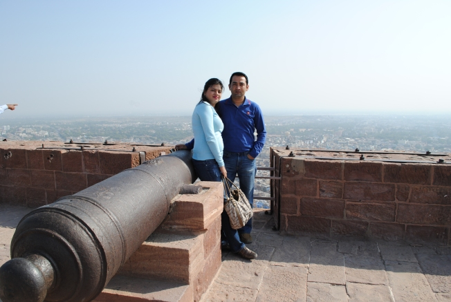 My husband an I at the cannon